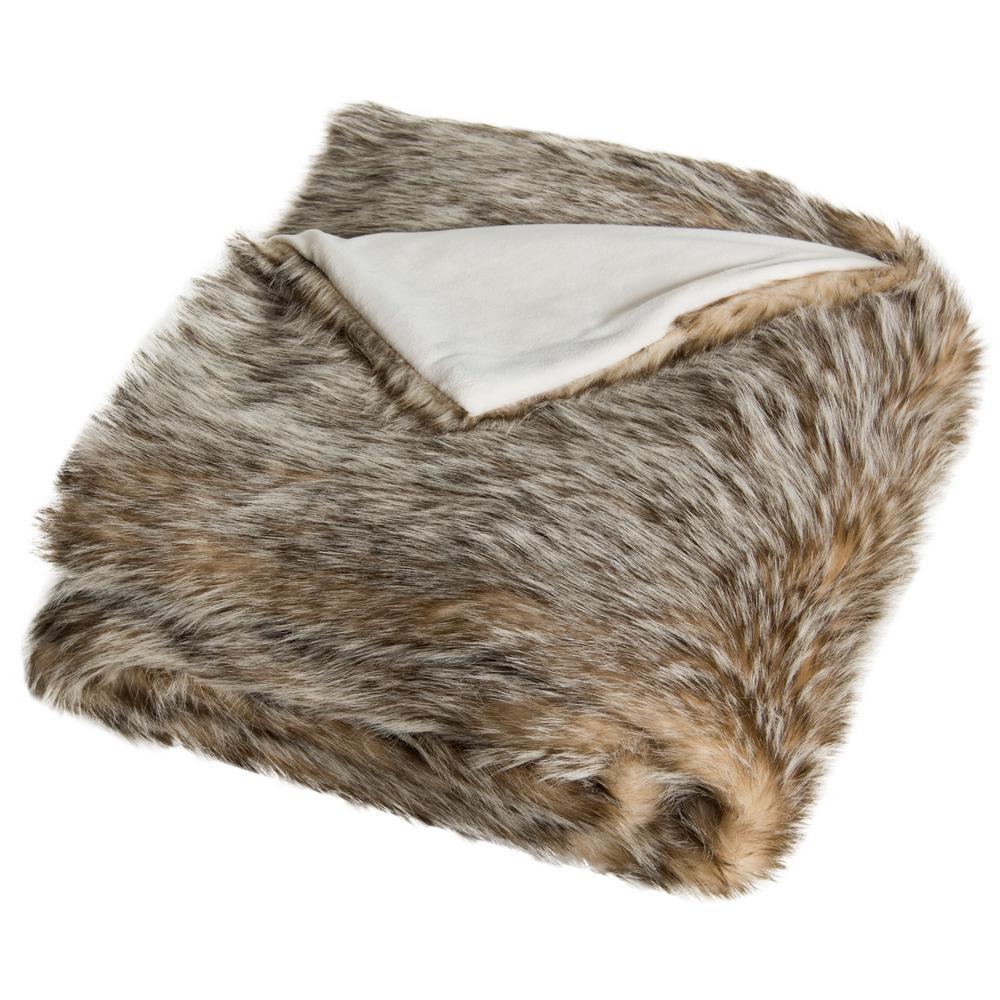 Dusty Fur 50 in. x 60 in. Gray Throw