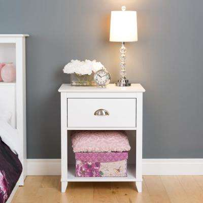 Yaletown 1-Drawer White Nightstand
