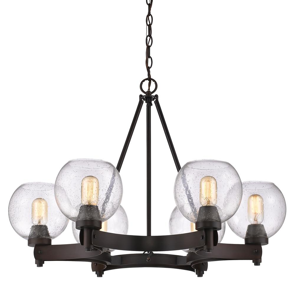 Golden Lighting Galveston 6-Light Rubbed Bronze Chandelier with Seeded Glass Shades