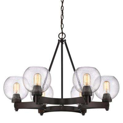 Galveston 6-Light Rubbed Bronze Chandelier with Seeded Glass Shades