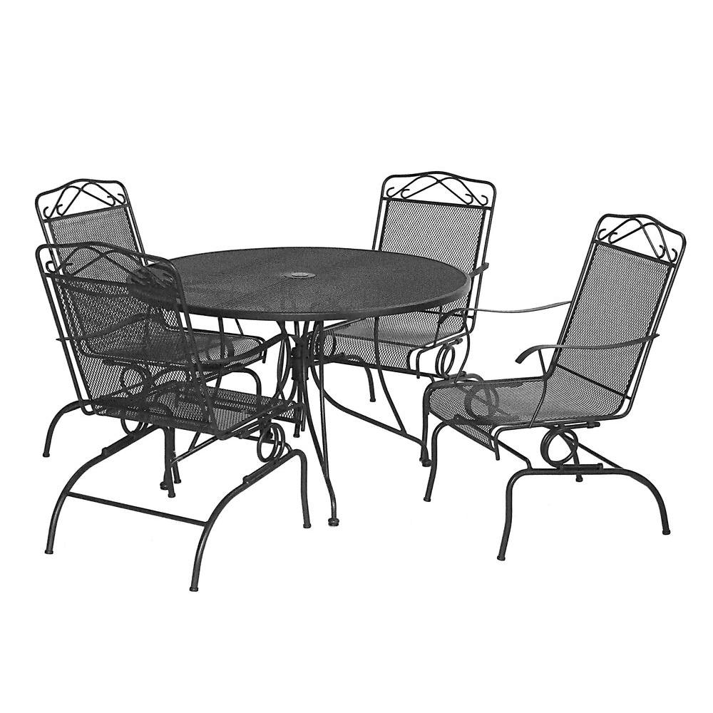 null Black Wrought Iron 5-Piece Action Patio Dining Set-DISCONTINUED