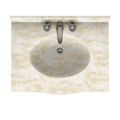 Europa 37 in. Solid Surface Vanity Top with Basin in Cloud White