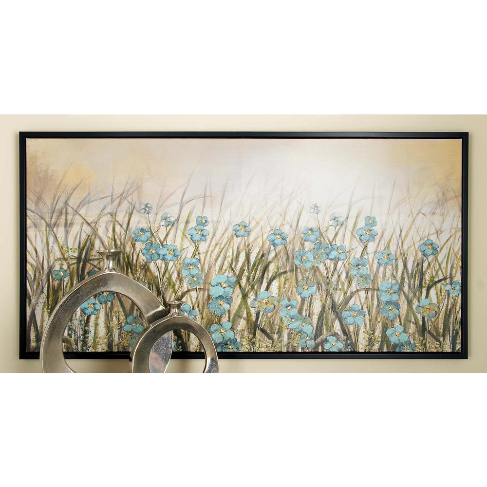 Litton Lane 27 in. x 55 in. Framed Blue Flowers Wall Art in Brown ...