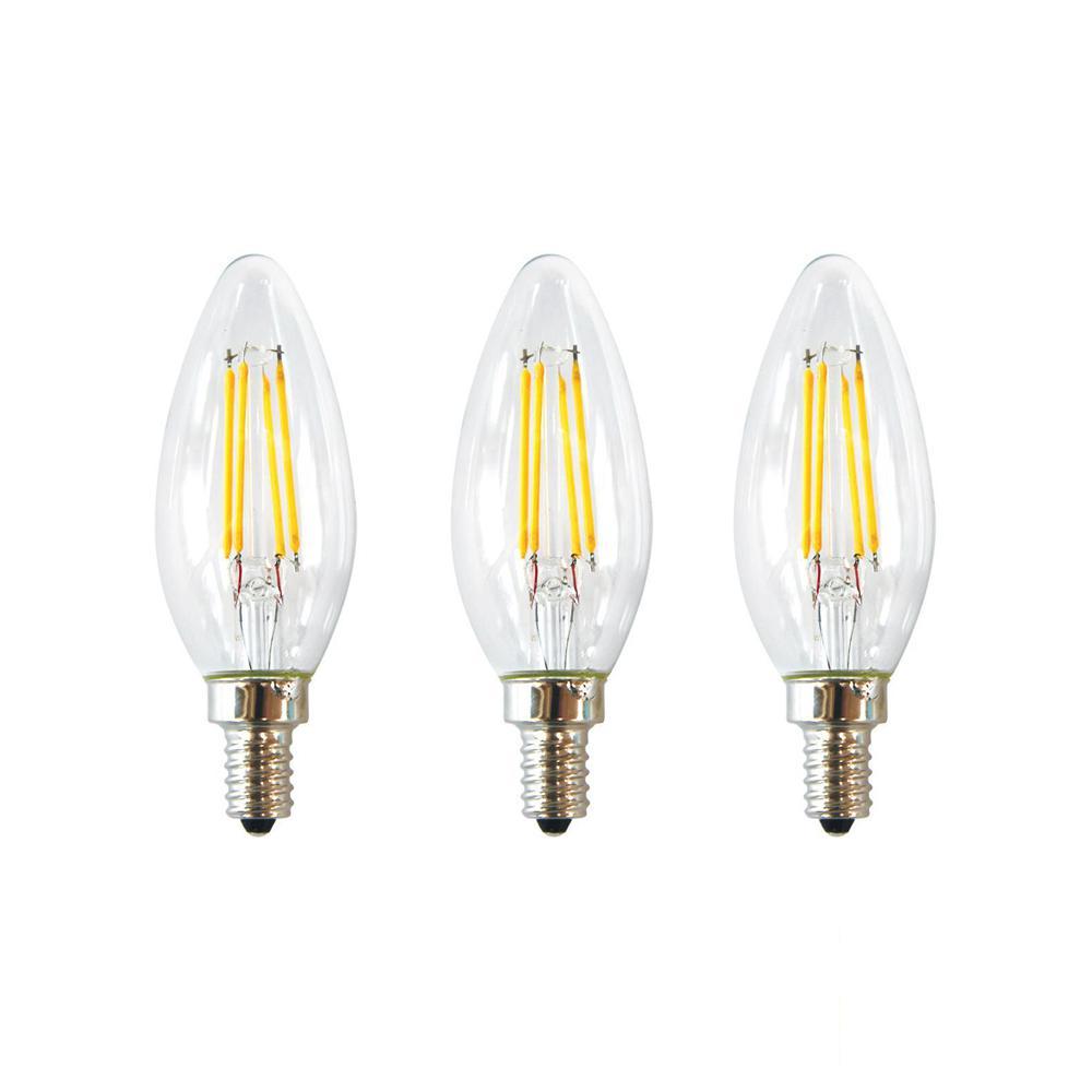 EcoSmart 40-Watt Equivalent B11 E12 Base Dimmable Clear Filament Vintage Style LED Light Bulb, Soft White (3-Pack)