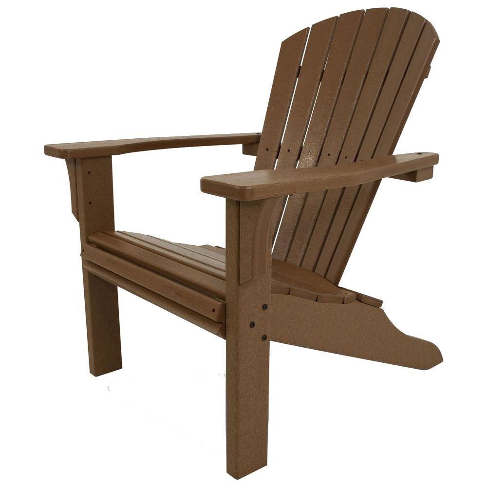 POLYWOOD Seashell Teak Plastic Patio Adirondack Chair  sc 1 st  Home Depot : adirondack chair teak - Cheerinfomania.Com