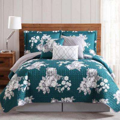 Peony Garden Floral Gray and Teal 6 Piece Queen Quilt Set
