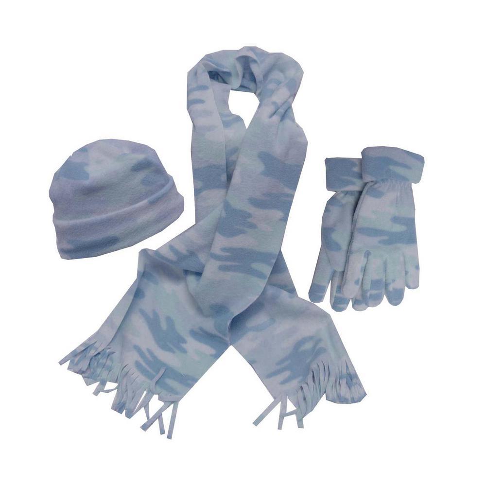Ladies Blue Camo Set Glove/Scarf/Hat
