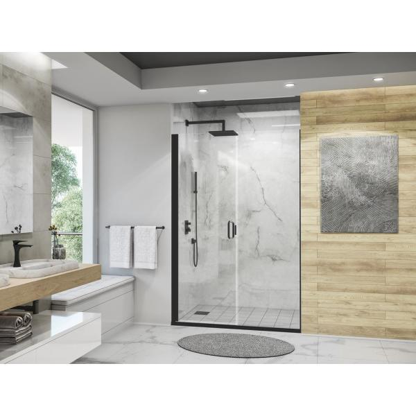 Holcam Distinctive Elite 50 In W X 71 375 In H Semi Frameless Hinged Shower Door And Inline Panel In Matte Black Desd180 Mbl Clr 5071 Hs The Home Depot
