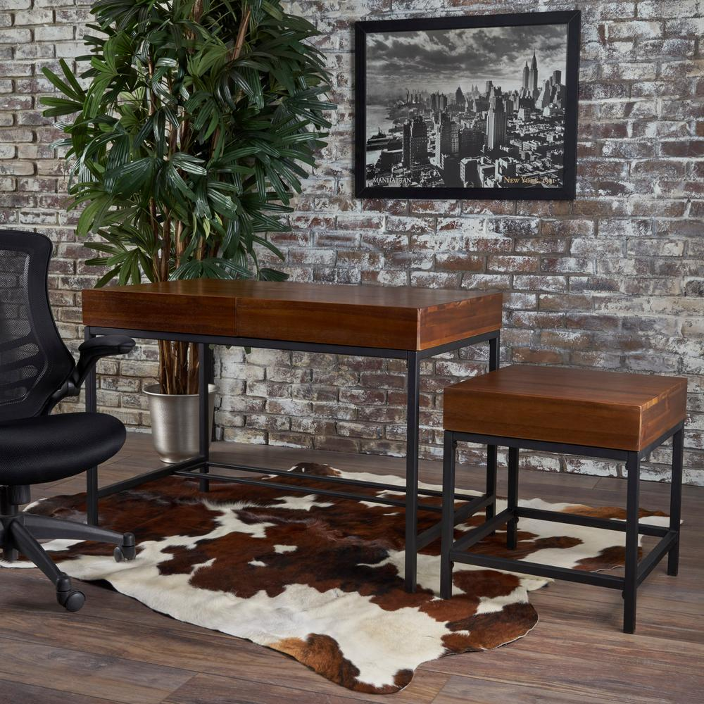 Ebany Industrial Dark Oak Brown Acacia Wood Storage Desk and Side