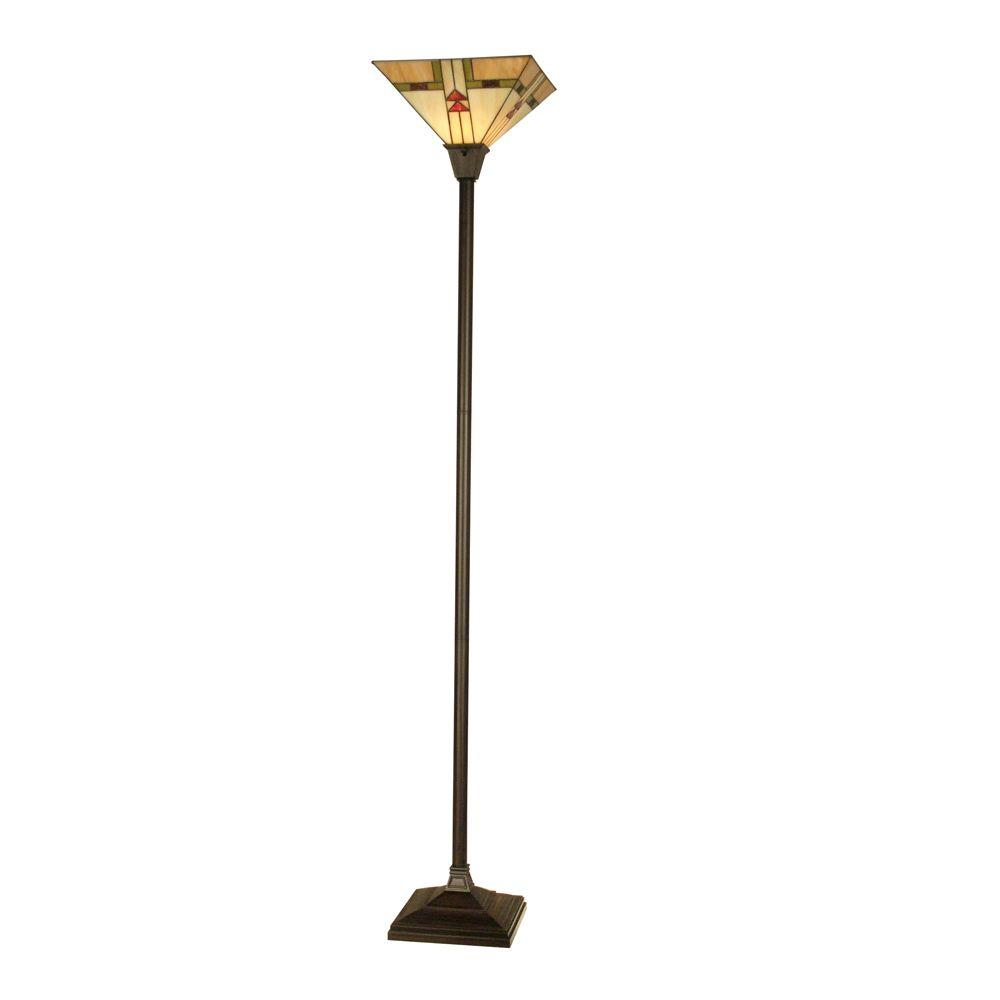Dale tiffany 705 in double arrowhead mission antique bronze art double arrowhead mission antique bronze art glass floor lamp aloadofball Images