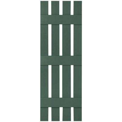 16-1/4 in. x 55 in. Lifetime Vinyl Custom Four Board Spaced Board and Batten Shutters Pair Forest Green