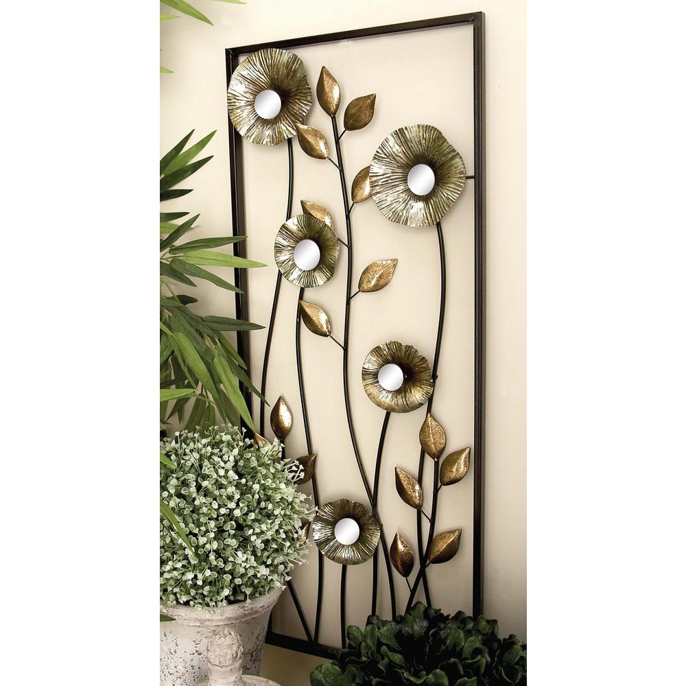 14 in. x 34 in. Assorted Contemporary Metal Climbing Florals Diptych