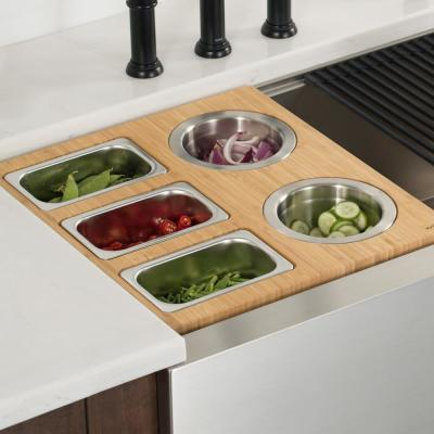 16.75 in. Workstation Kitchen Sink Composite Serving Board Set with Stainless Steel Bowls