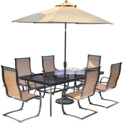 Monaco 9-Piece Aluminum Outdoor Dining Set and Umbrella