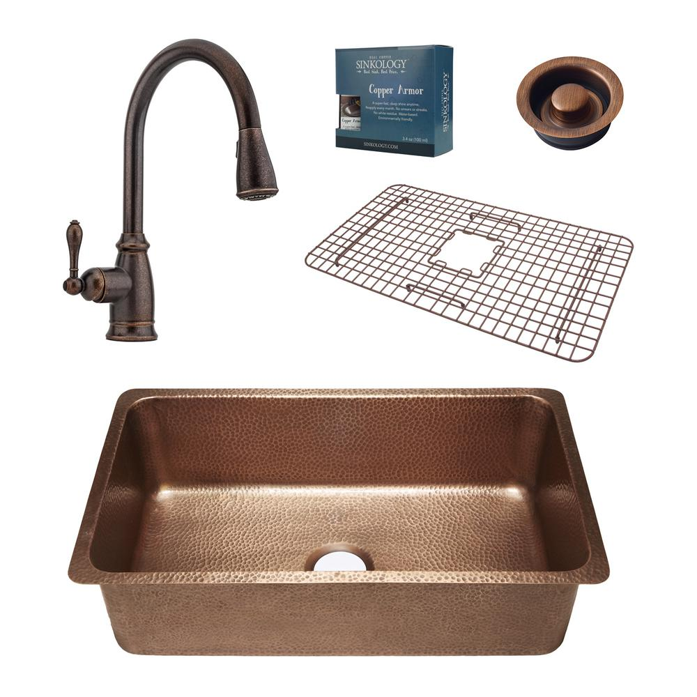 Sinkology Pfister All In One David 31 1 4 In Undermount Copper Kitchen Sink With Rustic Bronze
