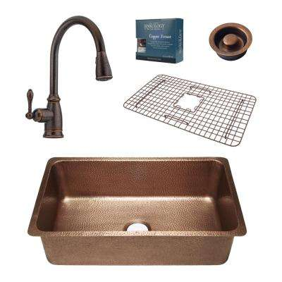Pfister All-In-One David 31-1/4 in. Undermount Copper Kitchen Sink with Rustic Bronze Faucet and Disposal Drain