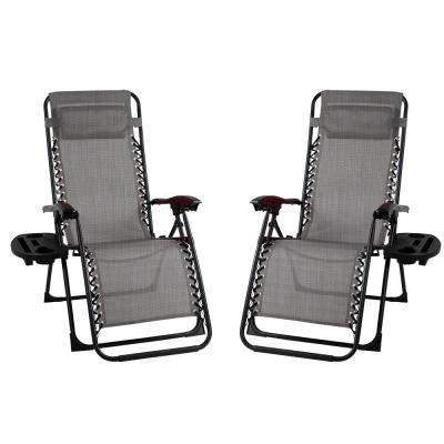 Metal Outdoor Recliner Gravity Chairs in Grey (2-Pack)
