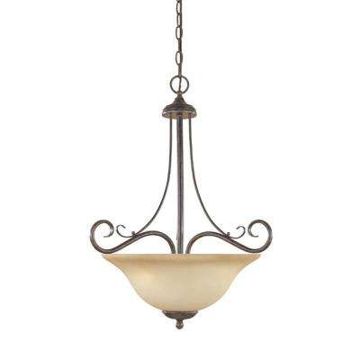 Bella Vista Collection 3-Light Warm Mahogany Hanging/Ceiling Light