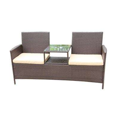 Brown 1-Piece Wicker Patio Sofa with Cream Cushions