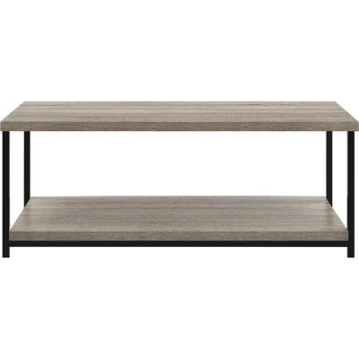 Seneca 42 in. Distressed Gray Oak Large Rectangle Particle Board Coffee Table with Shelf