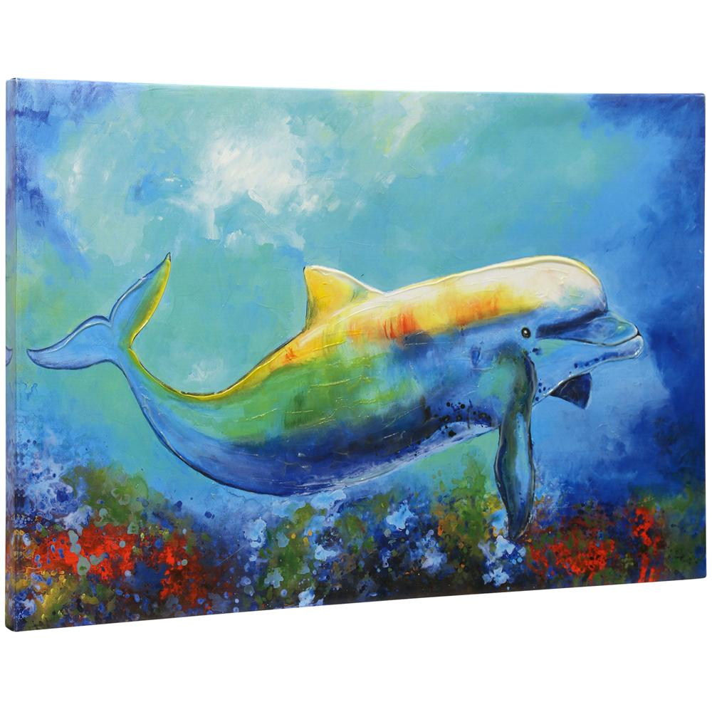 StyleCraft Hand-Painted Textured Dolphin Tropical Hand Embellished Stretched Canvas Wall Art was $79.99 now $30.32 (62.0% off)
