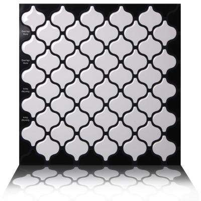 Damask White 10 in. W x 10 in. H Peel and Stick Self-Adhesive Decorative Mosaic Wall Tile Backsplash (10-Tiles)