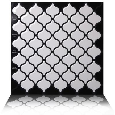 Damask White  10 in. W x 10 in. H Peel and Stick Self-Adhesive Decorative Mosaic Wall Tile Backsplash (5-Tiles)