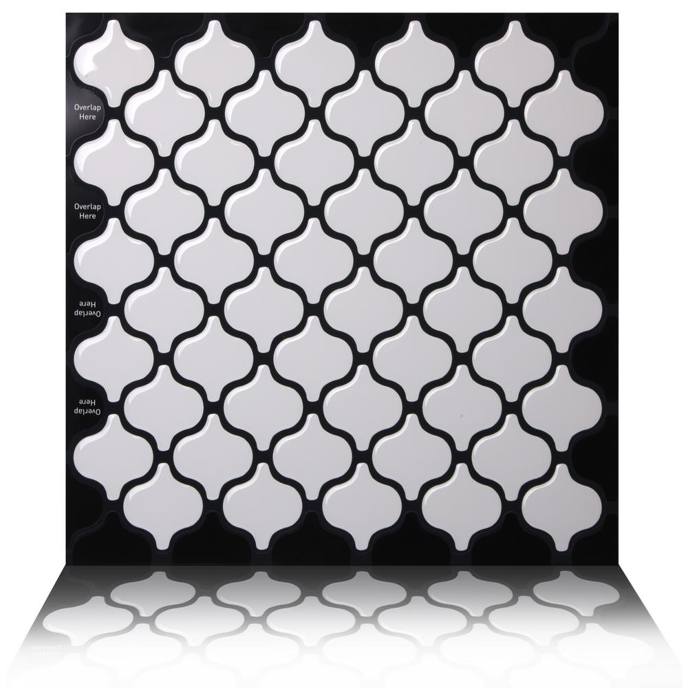Damask White 10 in. W x 10 in. H Peel and