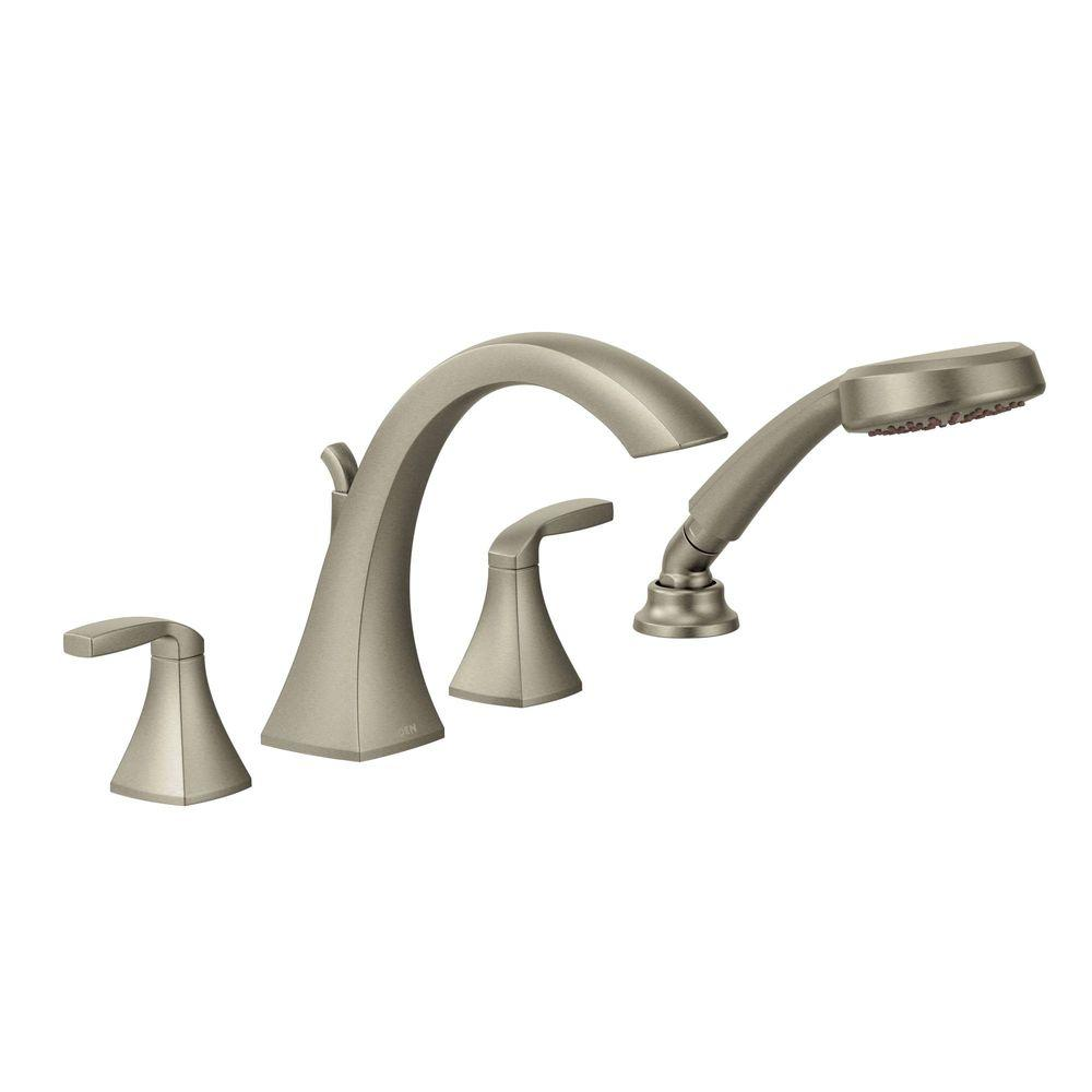 MOEN Voss 2-Handle High-Arc Roman Tub Faucet Trim Kit with Hand Shower in Brushed Nickel (Valve Not Included)