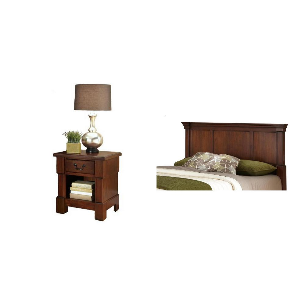 Homestyles The Aspen Collection 2 Piece Rustic Cherry King California King Headboard Bedroom Set 5520 6015 The Home Depot