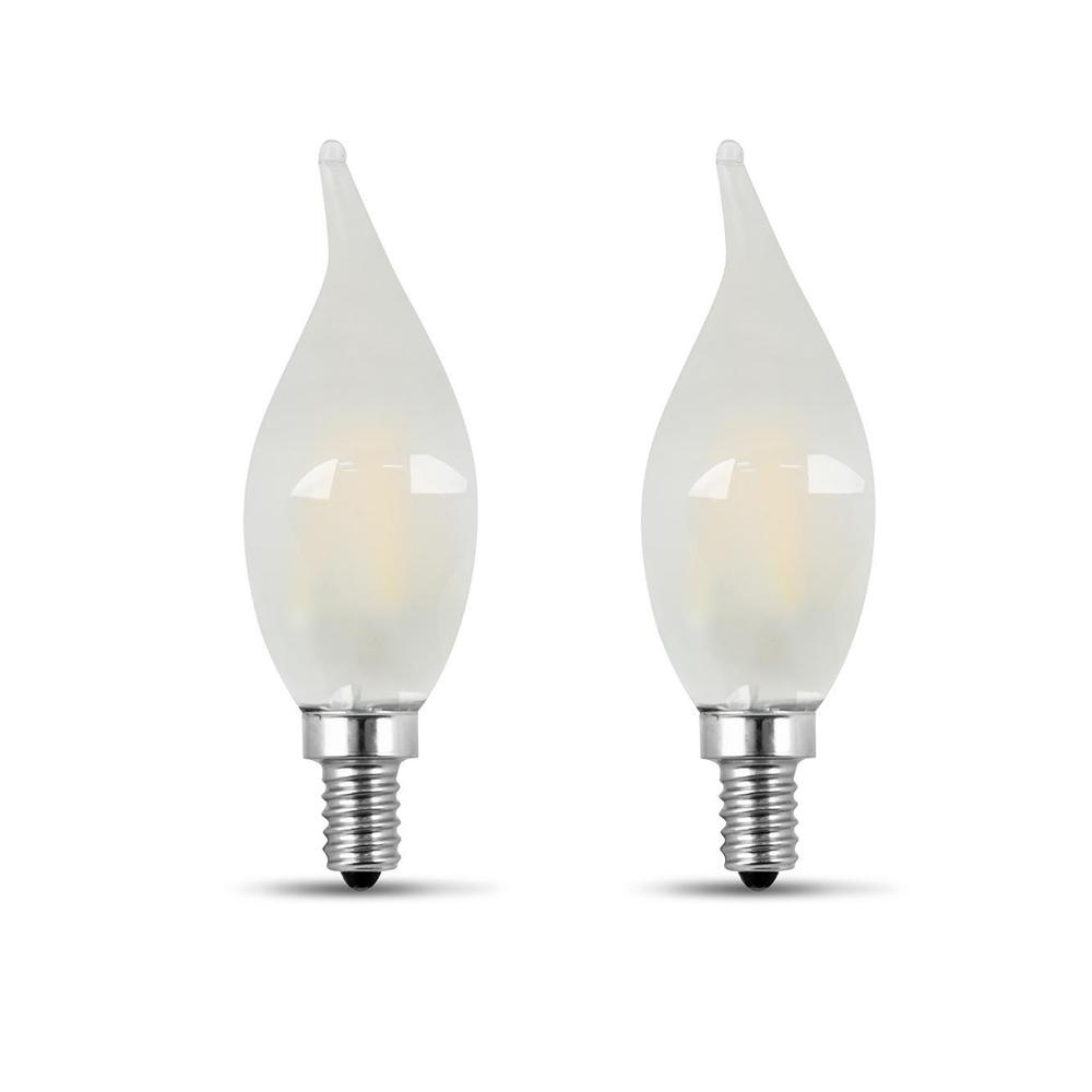 Feit Electric 60-Watt Equivalent CA10 Candelabra Dimmable Filament CEC Frosted Glass Chandelier LED Light Bulb, Soft White (2-Pack)