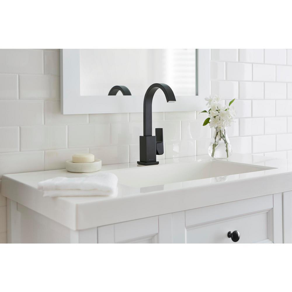 Farrington Single Hole Single-Handle High-Arc Bathroom Faucet in Matte Black