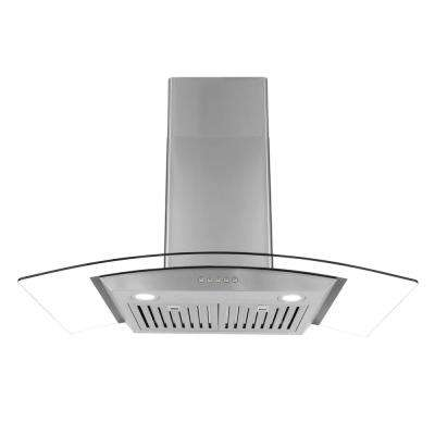 36 in. Ducted Wall Mount Range Hood in Stainless Steel with Push Button Controls, LED Lighting and Permanent Filters