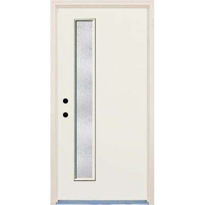 36 in. x 80 in. Right-Hand 1 Lite Rain Glass Unfinished Fiberglass Prehung Front Door with Brickmould