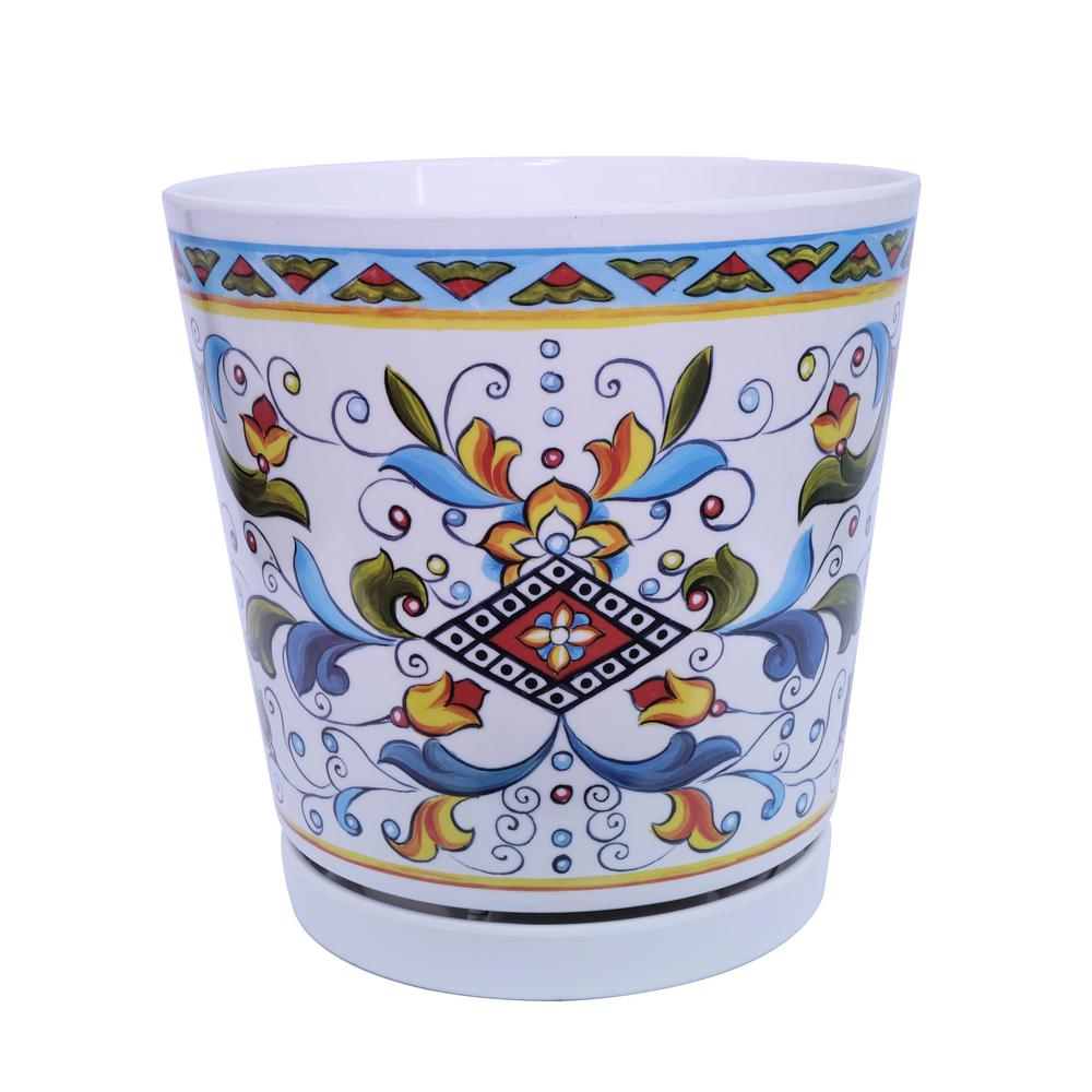 8.75 in. Dia Blue Multi-Classic Melamine Planter Pot with In-Line Saucer