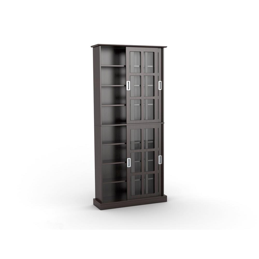 Atlantic Espresso (Brown) Media Storage Atlantic, Inc. 94835757, The Windowpane Media Cabinet is uniquely designed for maximum CD, DVD, and Blu-ray media storage. The sophisticated cabinet fits with traditional living rooms and upscale decor. The formal, elegant and functional two-way sliding glass door design provides easy access to media. Color: Espresso.