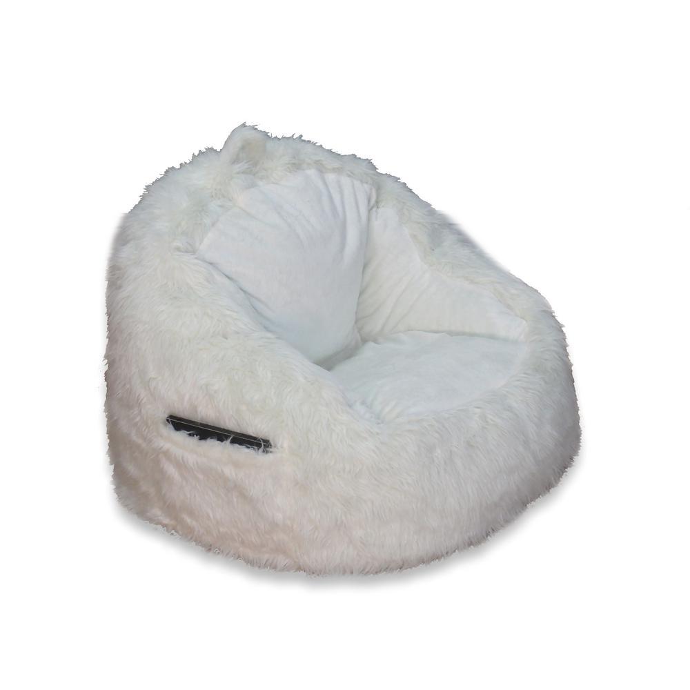 undefined Cream Fur Structured Bean Bag