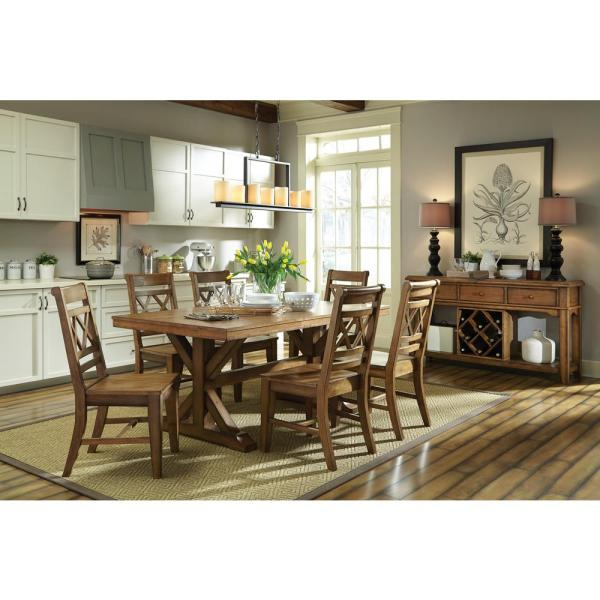 International Concepts Canyon Pecan Wood X Back Dining Chair Set Of 2