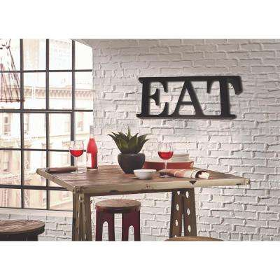 12 in. H x 33 in. W Black Steel EAT Letters Block Sign