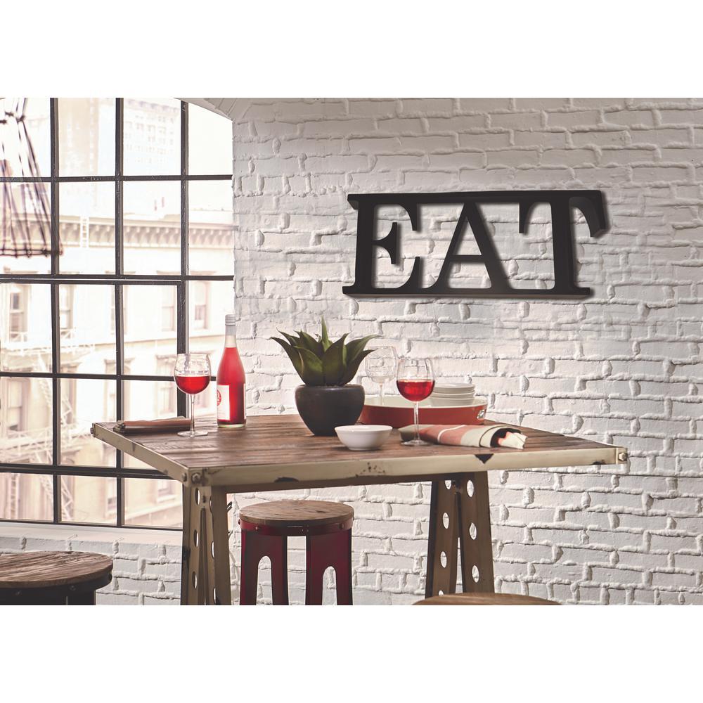 12 in. H x 33 in. W Black Steel EAT Letters Block Sign