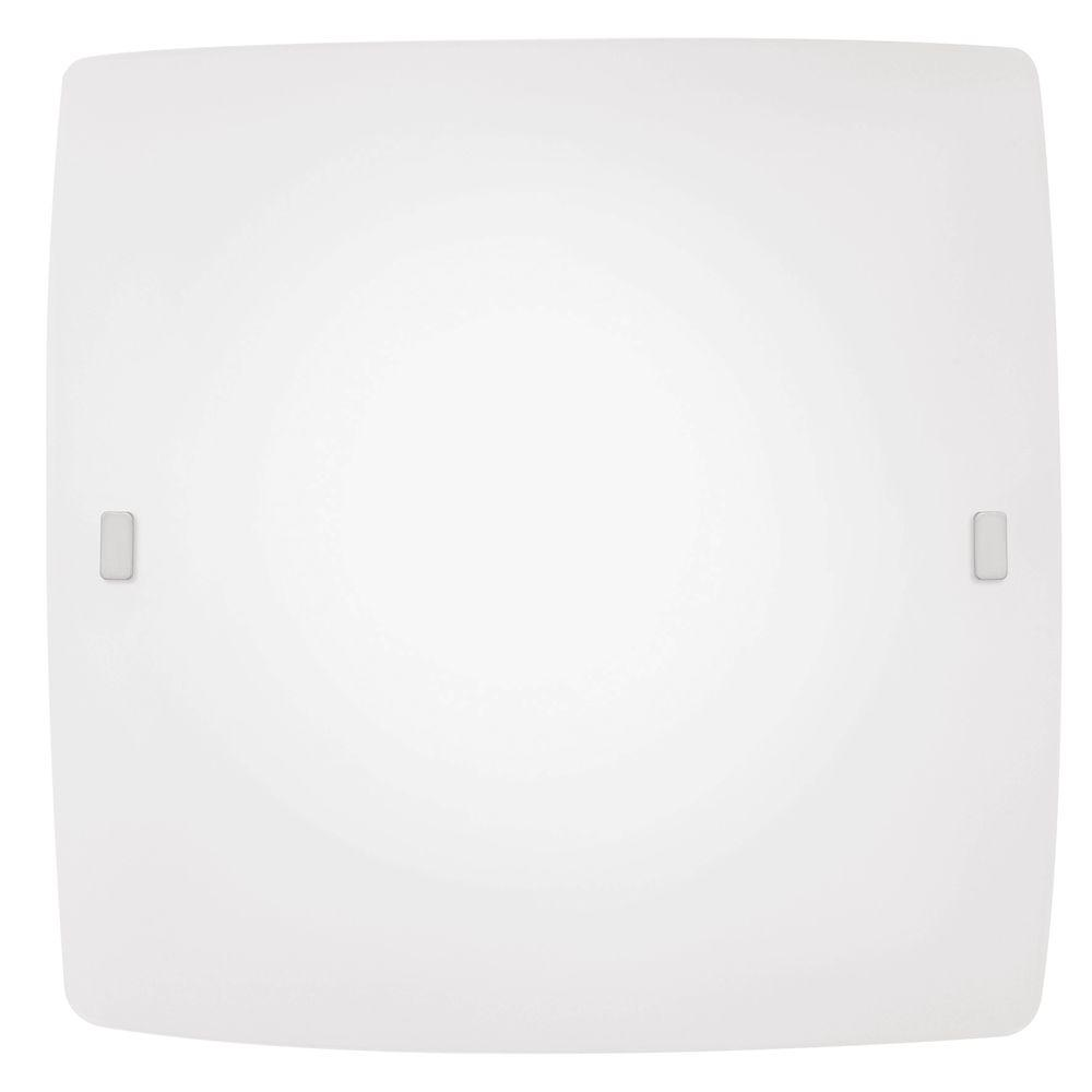 Aero 2-Light Satin White Ceiling Flushmount with Matte Nickel Accents
