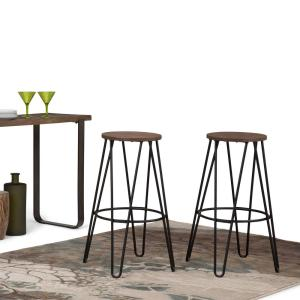 Simpli Home Simeon 30 inch Black and Cocoa Brown Metal Bar Stool with Wood Seat by Simpli Home