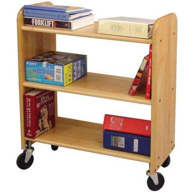 14 in. Natural Birch Book Truck