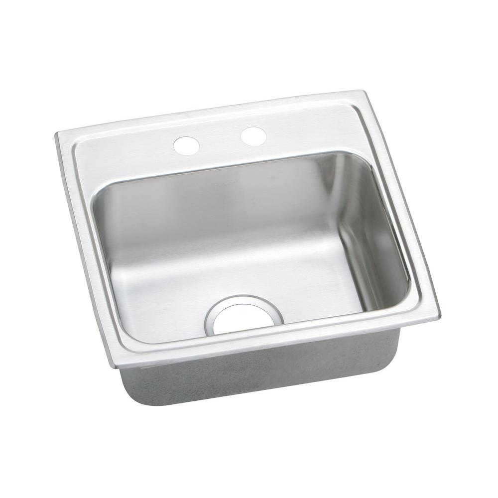 elkay lustertone drop in stainless steel 20 in  2 hole single bowl kitchen sink lr19192   the home depot elkay lustertone drop in stainless steel 20 in  2 hole single bowl      rh   homedepot com