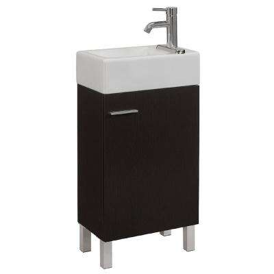 18 in. W x 11 in. D x 34 in. H Vanity in Espresso with Vitreous China Vanity Top in White and Basin