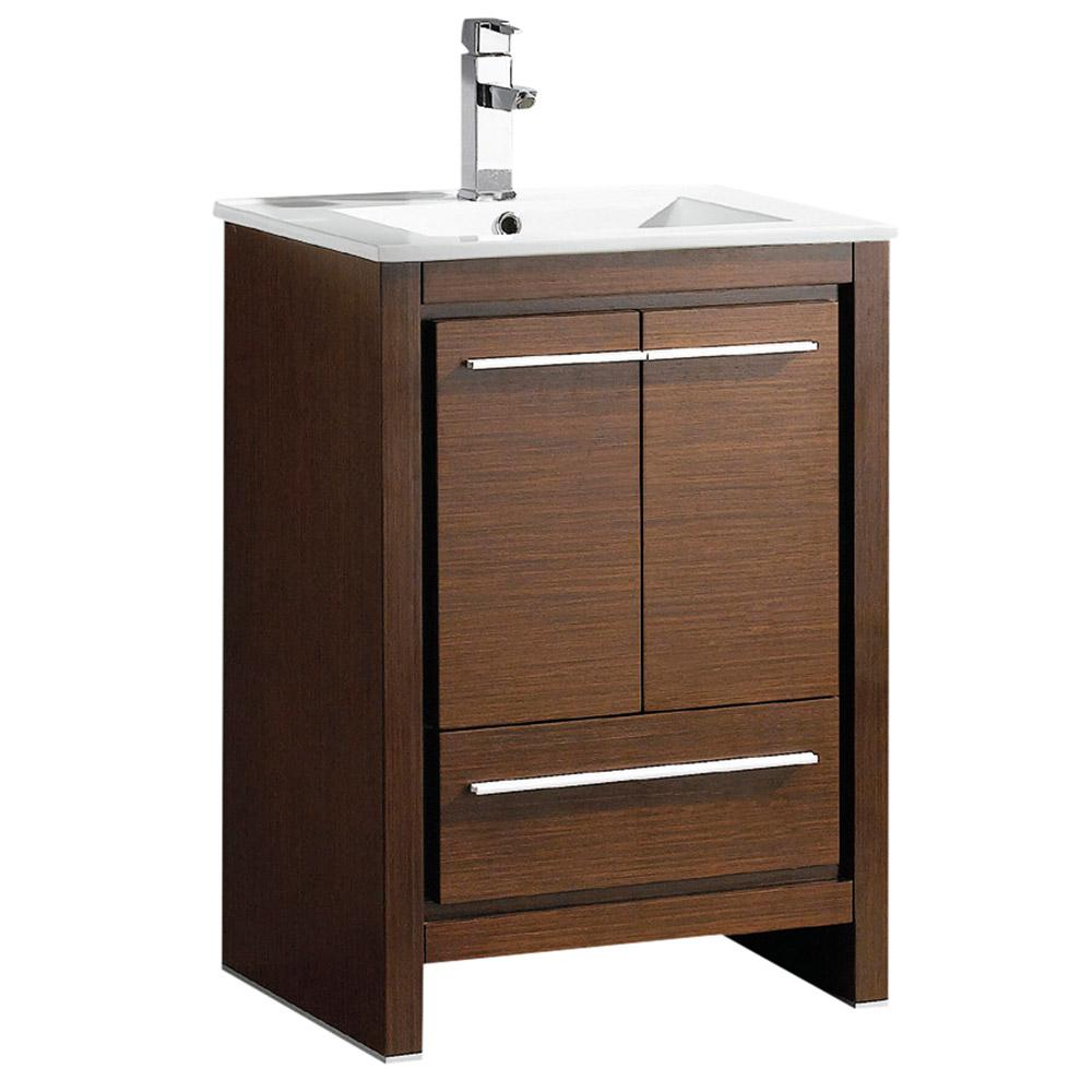 Allier 24 in. Bath Vanity in Wenge Brown with Ceramic Vanity