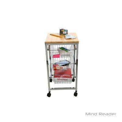 3-Tier Metal 4 -Wheeled Basket Utility Cart with Wood Surface in Silver