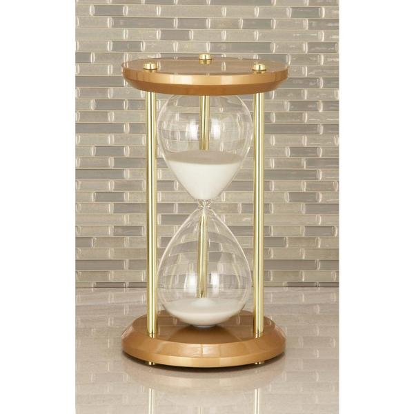 60-Minute Bronze Wooden Hourglass 7 in. x 12 in. Sand Timer