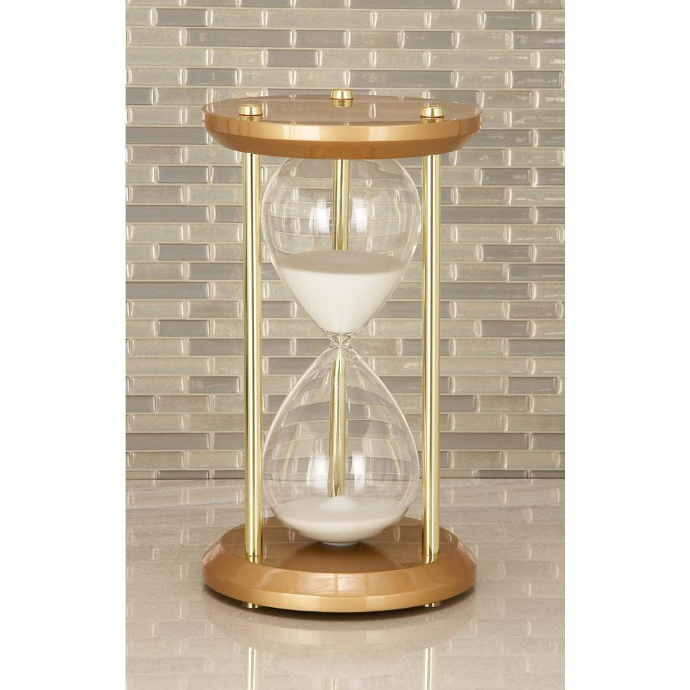 Litton Lane 60 Minute Bronze Wooden Hourglass 7 In X 12 In Sand - Decorative-hourglass