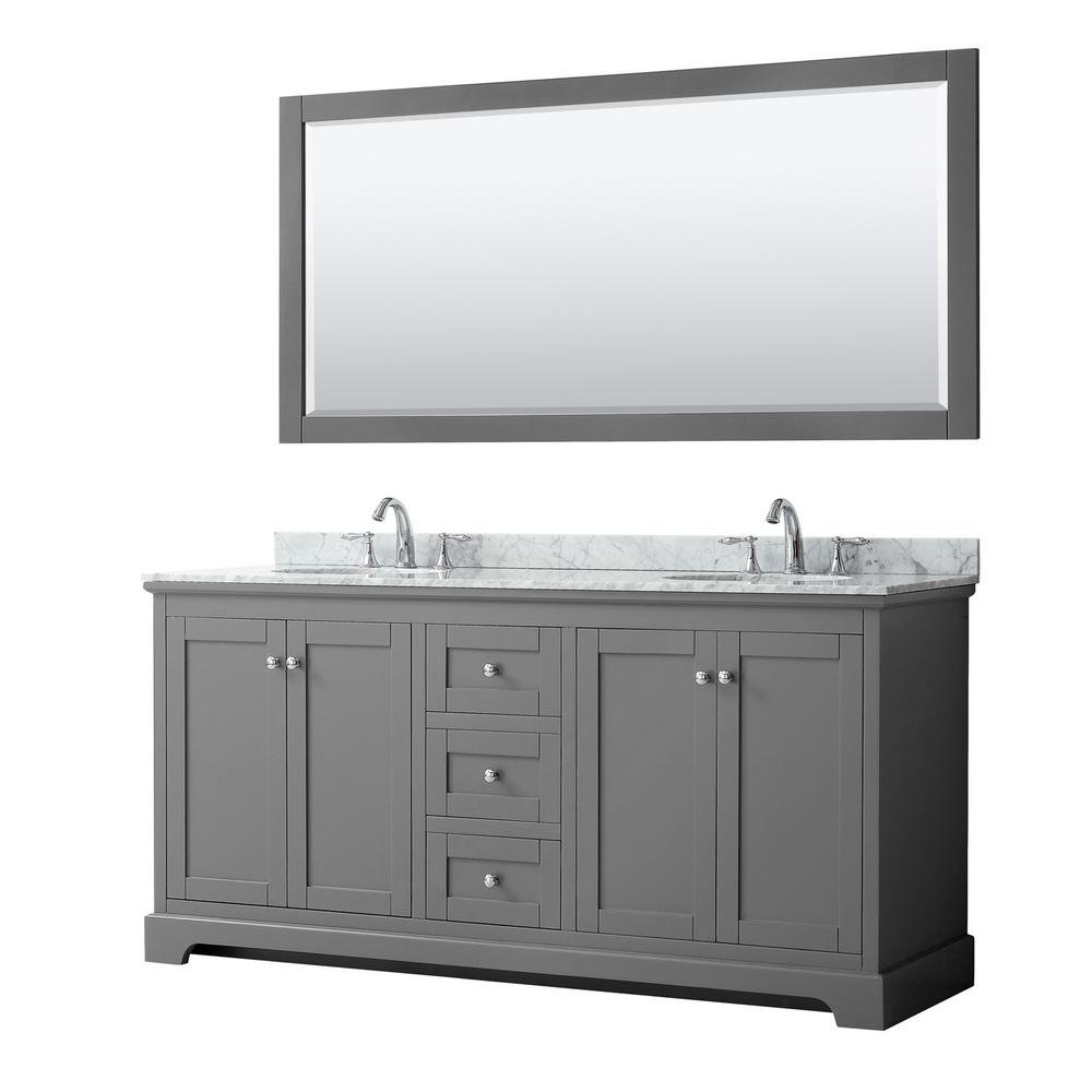 Wyndham Collection Avery 72 in. W x 22 in. D Bath Vanity in Dark Gray with Marble Vanity Top in White Carrara with White Basins and Mirror